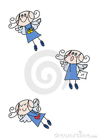 Funny angel girl (clip-art set)