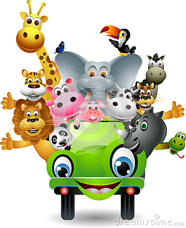 Free Funny Animal Cartoon On Green Car Royalty Free Stock Photos - 27048248
