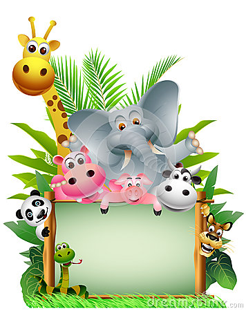 Funny animal wildlife cartoon with blank board