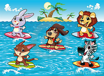 Funny animals are surfing in the sea.