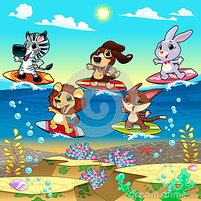 Funny animals surfing on the sea.