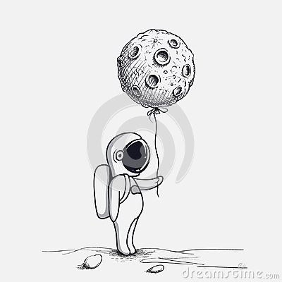 Free Funny Astronaut Keeps Abstract Balloon Like A Moon Stock Photos - 108195693