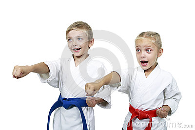 Funny athletes hit a punch arm isolated background