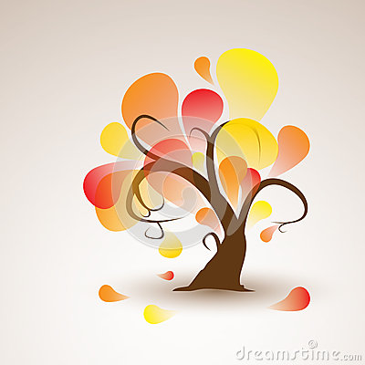 Free Funny Autumn Tree With Falling Leafs Royalty Free Stock Photo - 30191815
