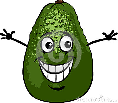 Funny avocado fruit cartoon illustration
