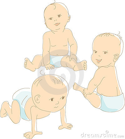 Funny babies in diapers, vector