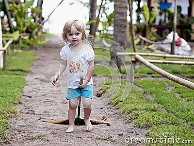 Funny baby on a beach