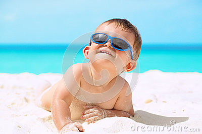 Funny Baby On The Beach Stock Images Image 32743224