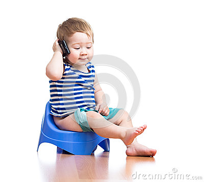 Free Funny Baby Boy Sitting On Chamber Pot With Pda Royalty Free Stock Image - 27113856