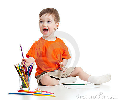 Funny baby drawing with color pencils