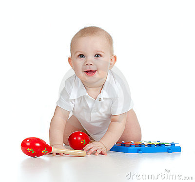 Funny Baby With Musical Toys Royalty Free Stock Image - Image: 23312476