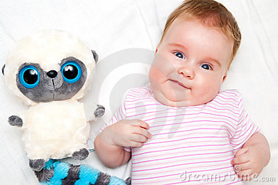 Funny baby with toy