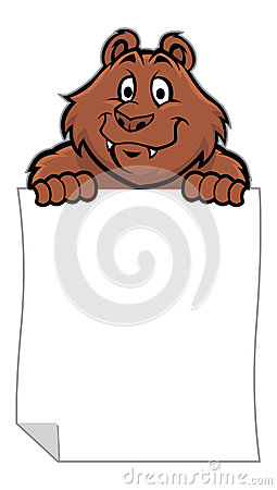 Funny bear hold a blank paper