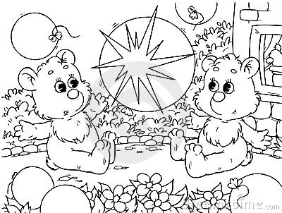 Funny bears with balloons
