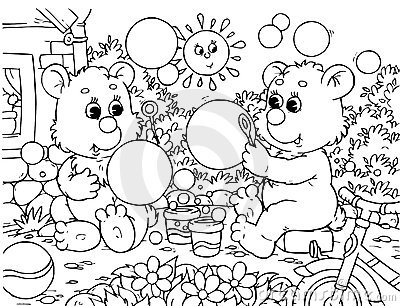 Funny bears blow bubbles
