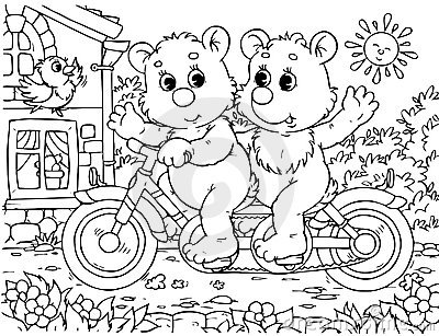 Funny bears cyclists