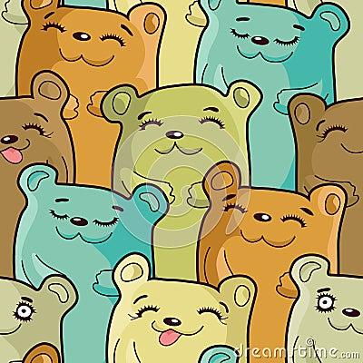 Free Funny Bears - Seamless Pattern Royalty Free Stock Photos - 18907518