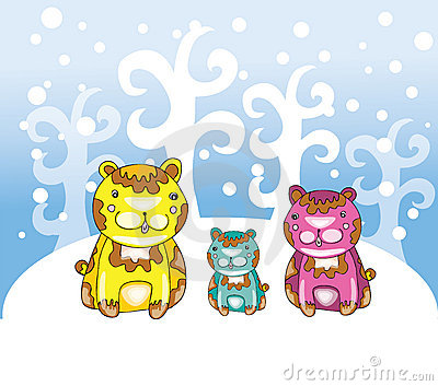 Funny bears at winter