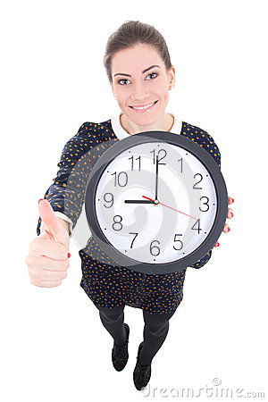 Funny beautiful business woman showing clock and thumbs up isola