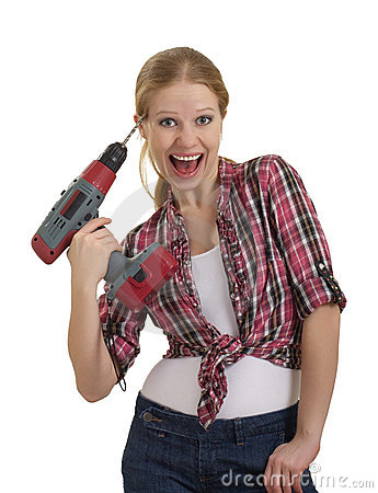 Free Funny  Beautiful Girl With A Drill Drills Head Stock Image - 23082401