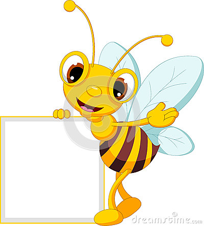 Funny bee cartoon with blank sign
