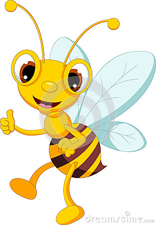 Funny bee cartoon thumb up