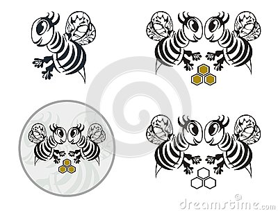 Funny bee icons Vector Illustration