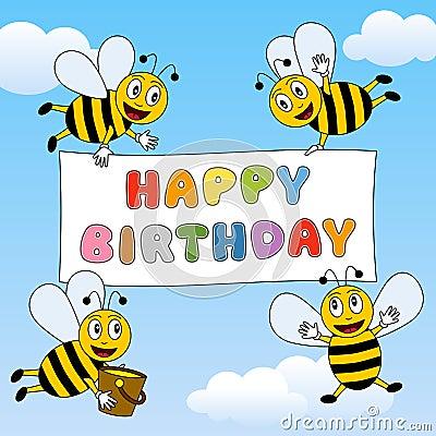Free Funny Bees Happy Birthday Stock Photography - 26859872
