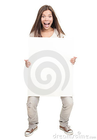 Funny big white sign woman