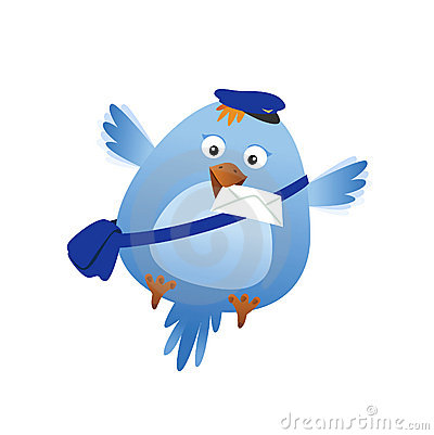 Funny bird with mail
