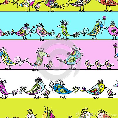Funny birds, seamless pattern for your design
