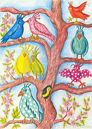 Funny birds in a tree