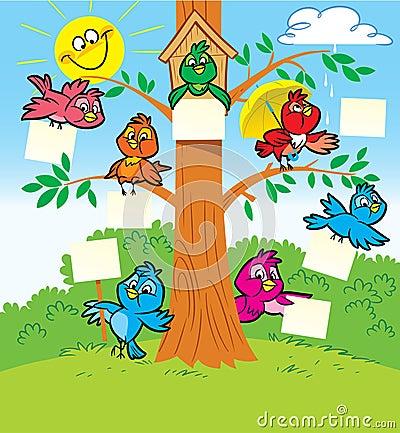 Funny birds on a tree