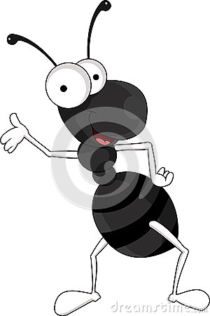 Funny black ant cartoon
