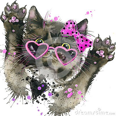 Free Funny Black Cat T-shirt Graphics, Black Cat Illustration With Splash Watercolor Textured Background. Stock Photos - 61339873