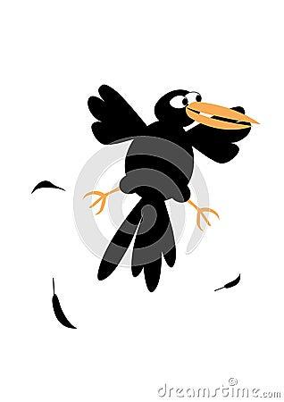 Funny black crow