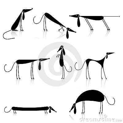 Funny black dogs silhouette, collection