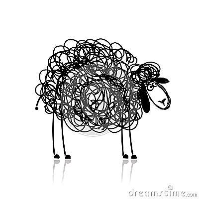 Funny black sheep, sketch