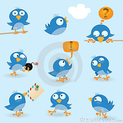 Free Funny Blue Birds Royalty Free Stock Image - 20448606