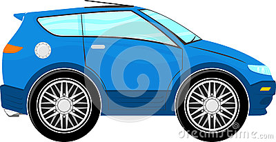 Funny blue car cartoon