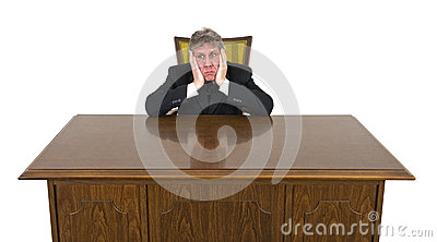 Funny Bored on Job Businessman Isolated
