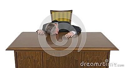 Funny Bored Sleeping on Job Businessman Isolated