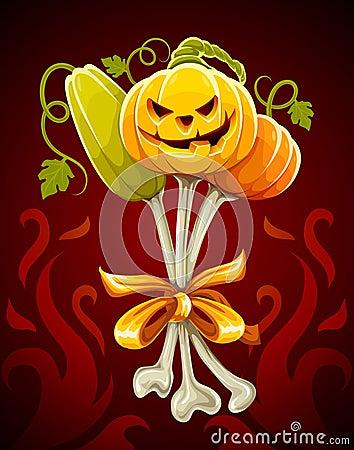 Funny bouquet made of halloween pumpkins on bones