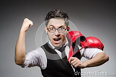 Funny boxer businessman