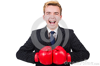 Funny boxer businessman
