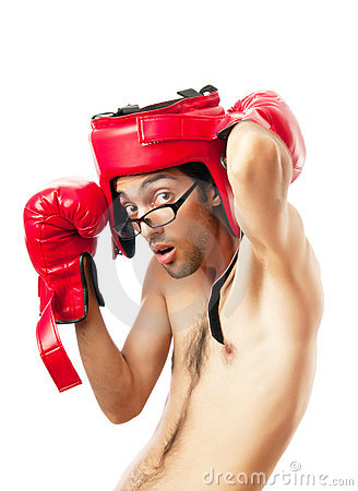 Funny boxer  on white
