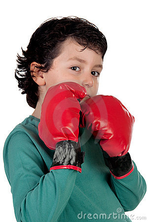 Funny boy with boxing gloves