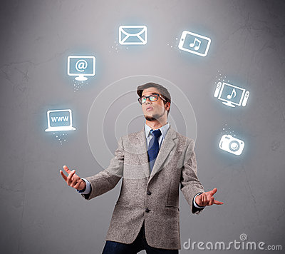 Funny boy juggling with electronic devices icons