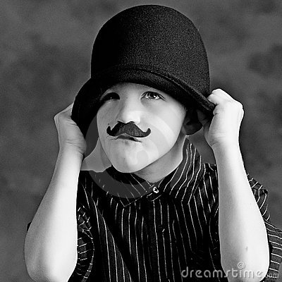 Funny boy with moustache