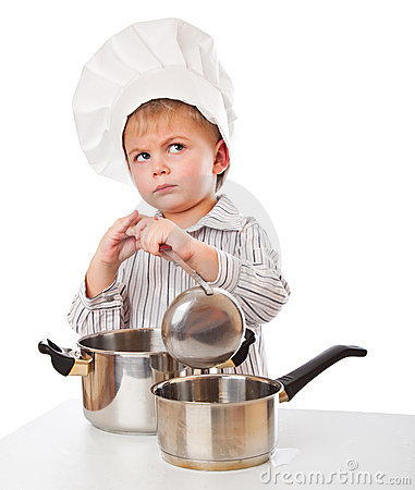 A funny boy is portraying a cook